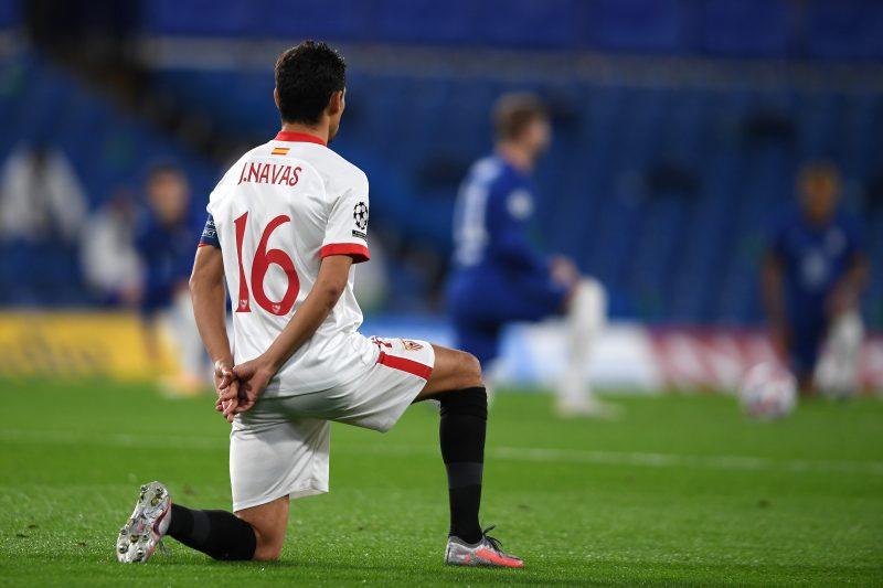 Jesús Navas, en el encuentro entre el Chelsea FC y el Sevilla FC de Champions League
