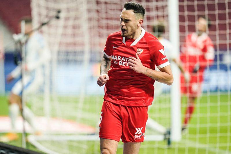 Ocampos, celebrando el gol que certificó la victoria del Sevilla FC frente al Leganés.