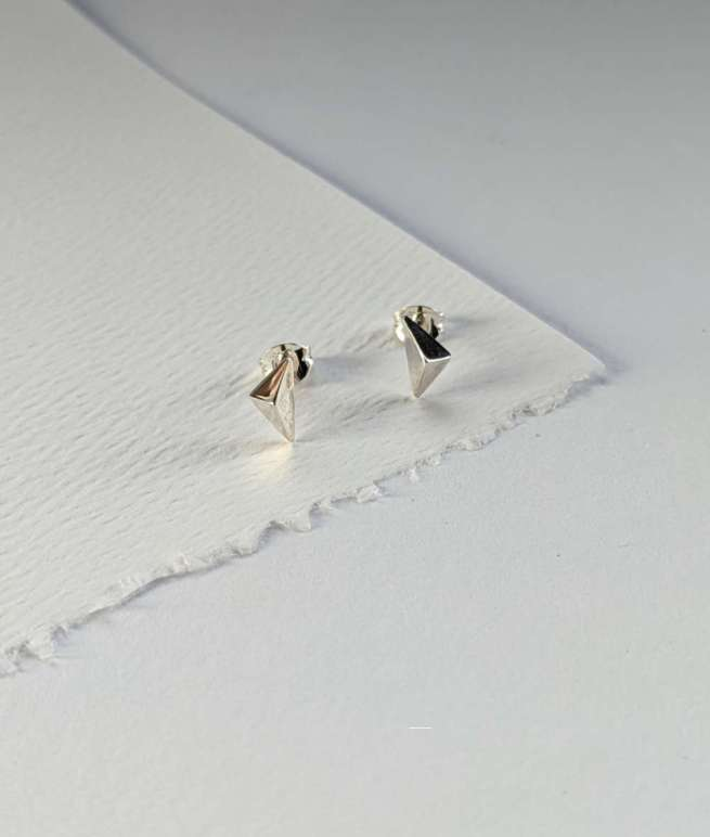 facet mismatched triangle stud earrings handcrafted in recycled silver