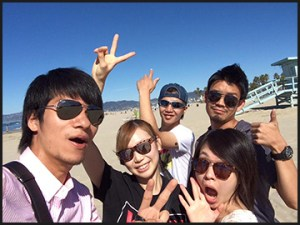 Japanese group beach