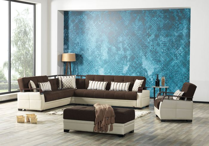 dogal sectional sofa in royal brown with storage and two beds
