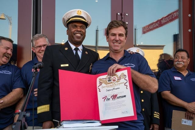 President Paul Schneider and Fire Chief Osby