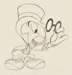 Sketch of Jiminy Cricket