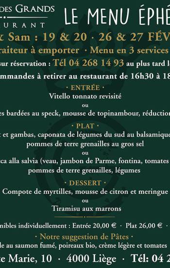 Menu Éphémère 3 services 38€ 19-20/02 & 26-27/02