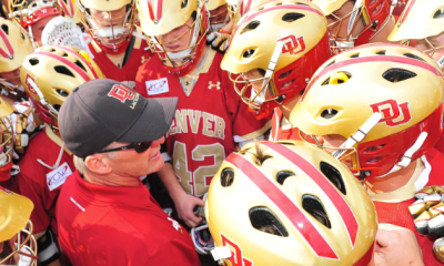 May 21, 2011; Hempstead NY, USA; Denver Pioneers head coach Bill Tierney address his team after their victory over the Johns Hopkins Blue Jays during the quarterfinal round of 2011 NCAA mens lacrosse tournament at James M. Shuart Stadium. Denver defeated Johns Hopkins by a score of 14-9 to advance to the Final Four. Mandatory Credit: Andrew Fielding-US PRESSWIRE