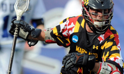May 26, 2012; Boston, MA, USA; Maryland Terrapins midfield Curtis Holmes (17) controls the ball during the first half of the NCAA Division I semifinals against the Duke Blue Devils at Gillette Stadium. Mandatory Credit: Bob DeChiara-USA TODAY Sports