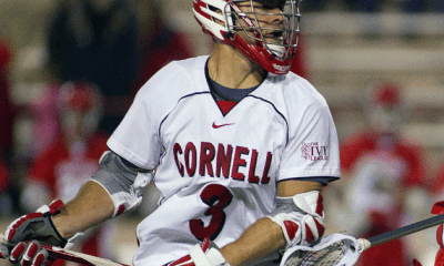May 14, 20011; Ithaca, NY, USA; Hartford Hawks defenseman Alex Matarazzo (6) defends against Cornell Big Red attack Rob Pannell (3)during the first round of the 2011 NCAA Mens Lacrosse Tournament at Schoellkopf Field. Cornell defeated Hartford 15-6. Mandatory Credit: Patrick Shanahan-USA TODAY Sports