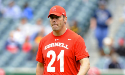 May 25, 2013; Philadelphia, PA, USA; Cornell Big Red head coach Ben DeLuca looks on prior to the game against the Duke Blue Devils in the 2013 NCAA Division I men's lacrosse semifinals at Lincoln Financial Field. Mandatory Credit: Rich Barnes-USA TODAY Sports