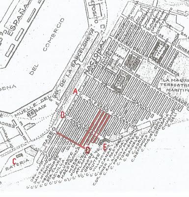 mapa calles barcelona bombardeo