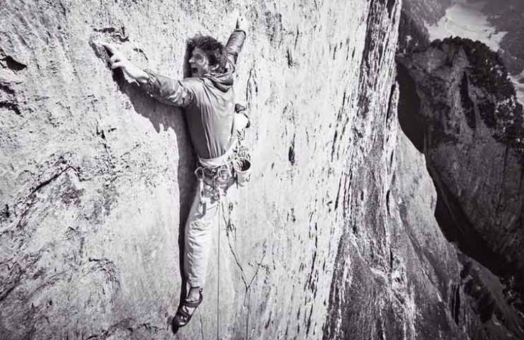 Michi Wohlleben at the first ascent of Parzival at the Trinity in the Alpstein - Switzerland