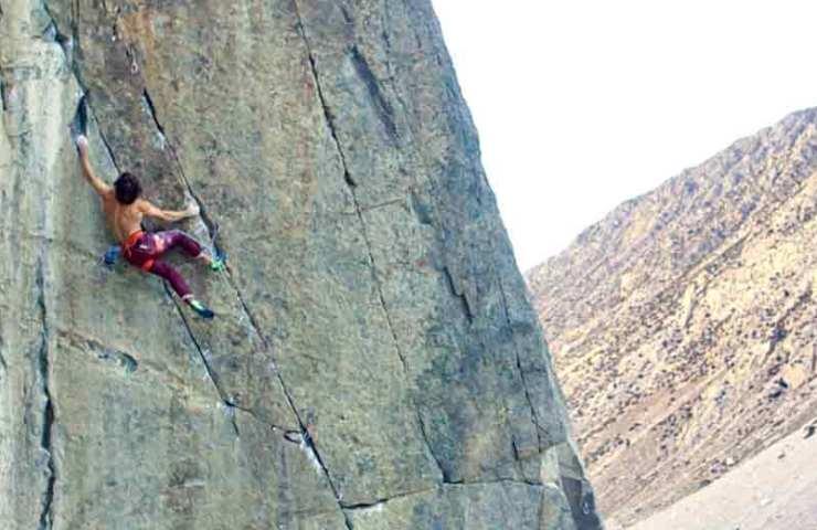 Chris Sharma on a climb in his native California