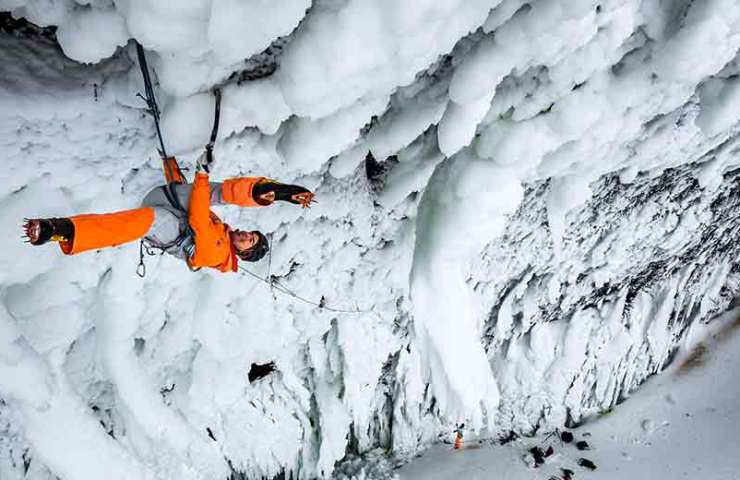Dani Arnold opens new ice climbing route Power Shrimp