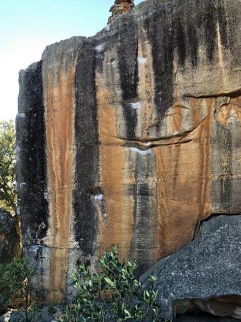 Der Boulder The Smile in den südafrikanischen Rocklands