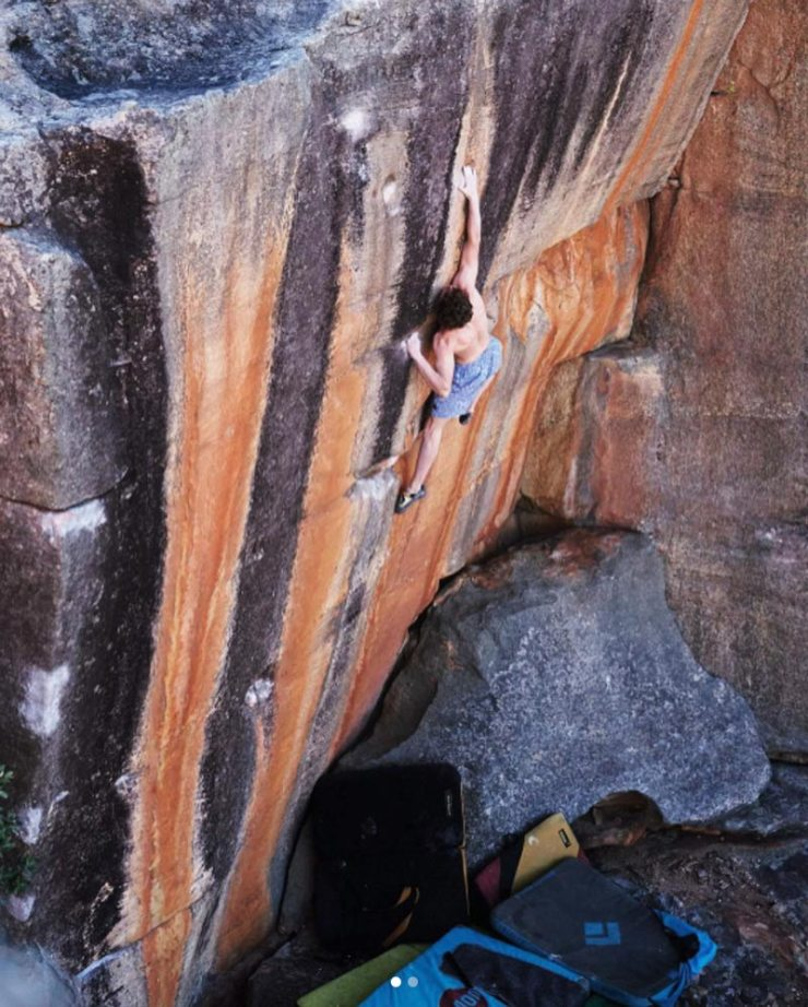 Giuliano Cameroni bei der Begehung von The Smile (8c) in den Rocklands