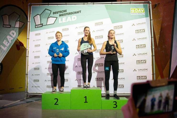 Die drei bestplatzierten beim Leadwettkampf in Darmstadt