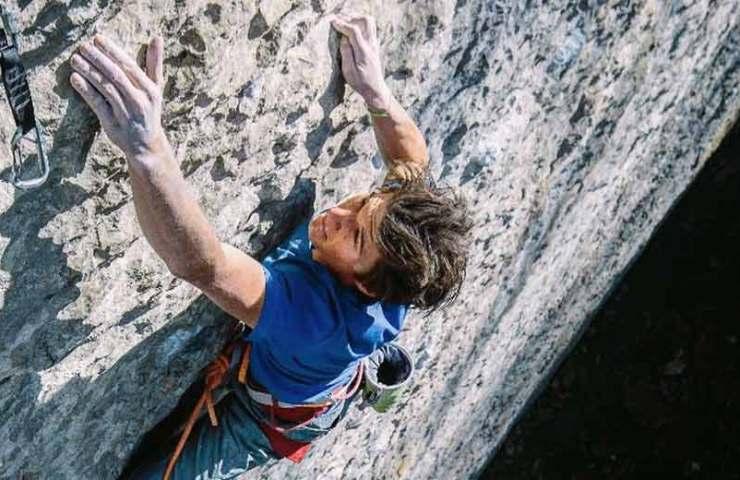 Professional alpinist Michi Wohlleben climbs Speed Intégrale (9a) on the Voralpsee