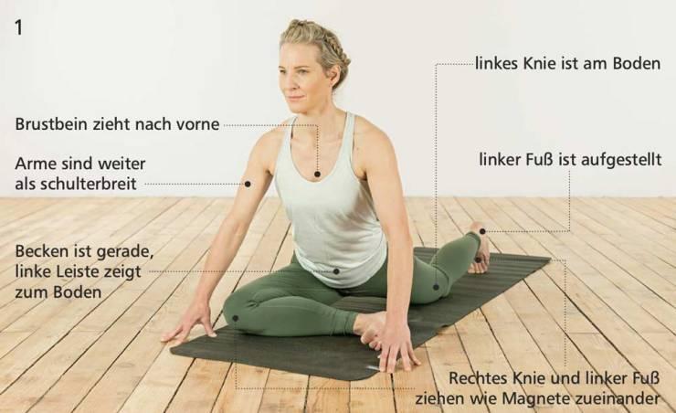 Position 1: Yoga-Übung für Kletterer: So trittst du beim Klettern höher an.