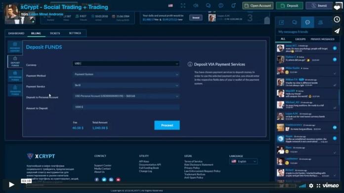 Démonstration du fonctionnement de la plate-forme d'échange XCrypto par le MVP