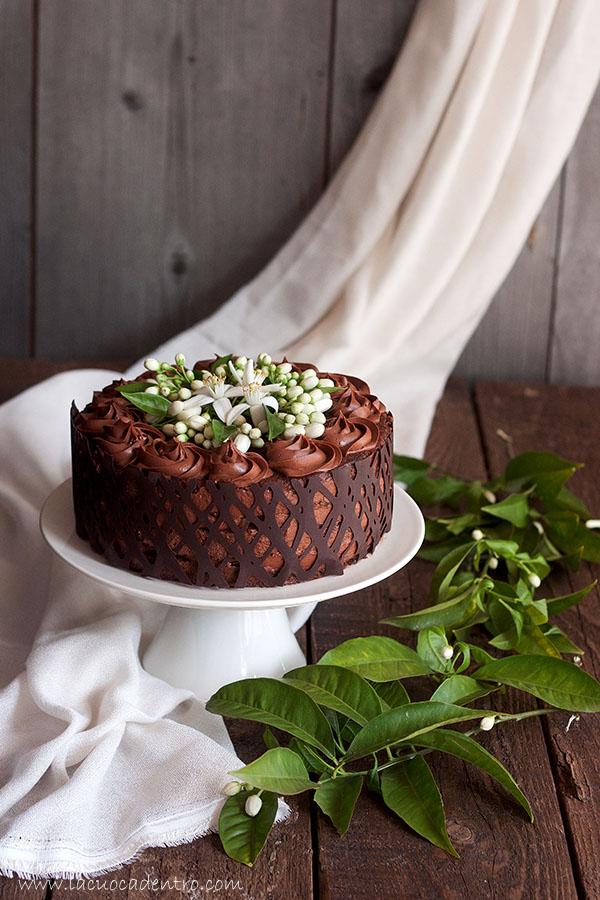 torta cioccolato e fiori di zagara