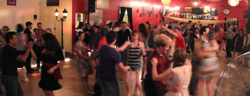 Swing dancing at Third Saturday Swing in Pasadena