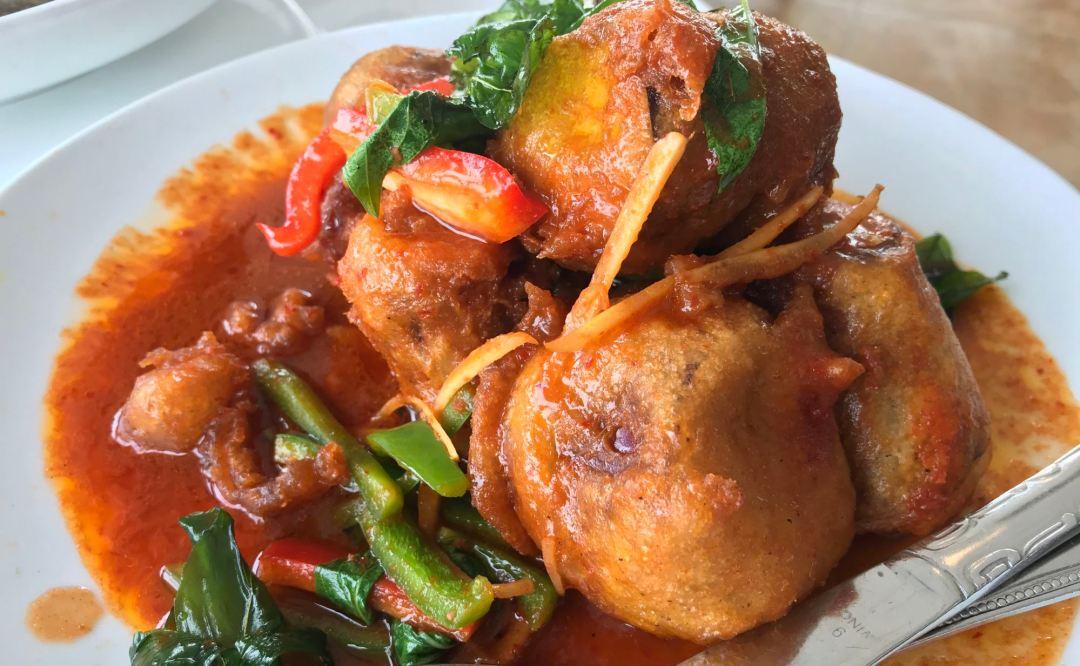 """Fried """"catfish""""eggplant at Satdha"""