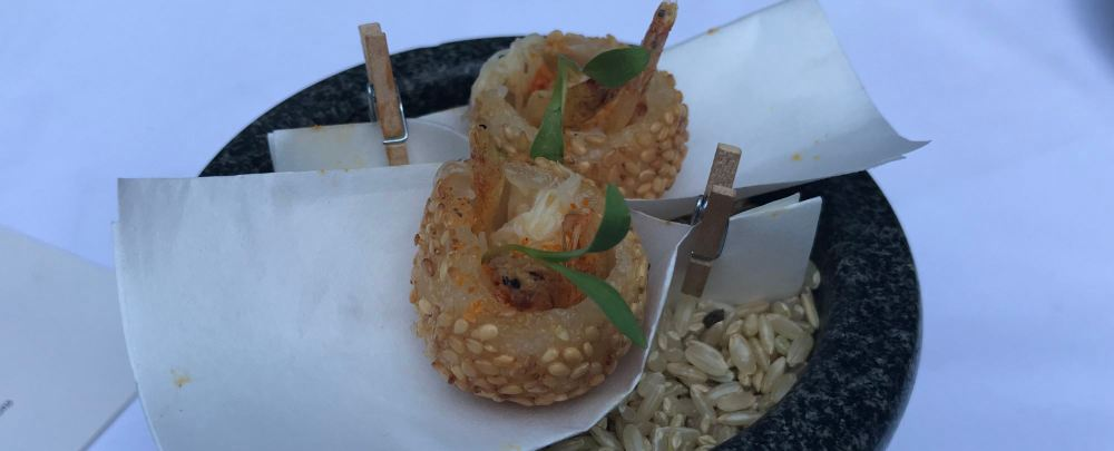 Sesame Ball with Dungeness Crab, Thair Curry Spice, and Sakura Shrimp