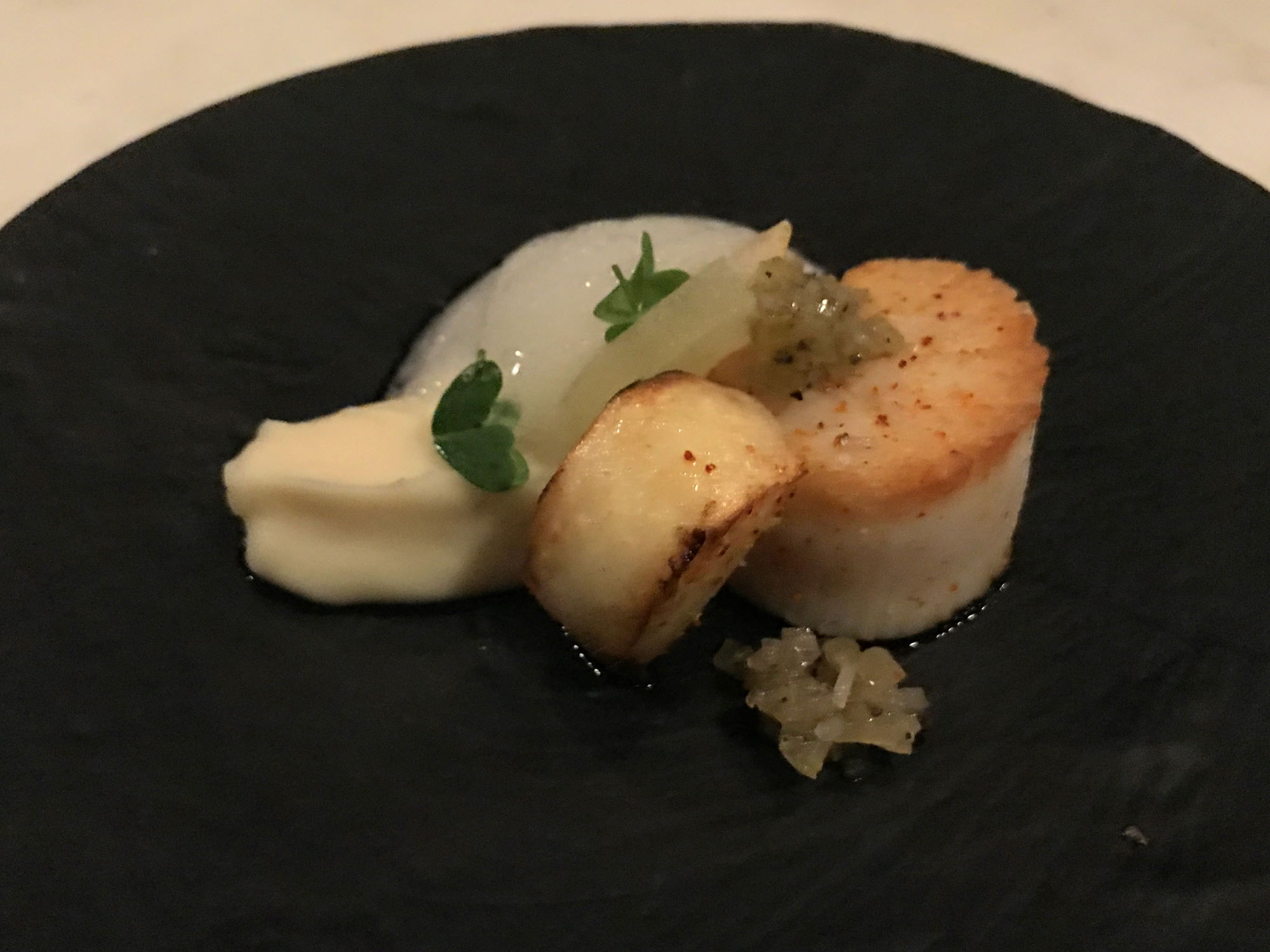 Happy hour scallop at Citrin