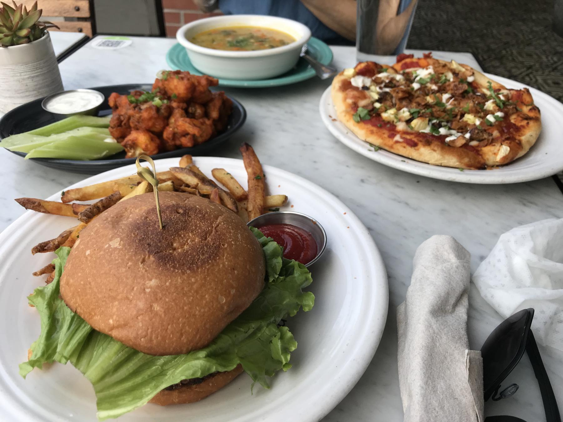 Black Bean Burger, Pizza, Soup at Cafe Gratitude