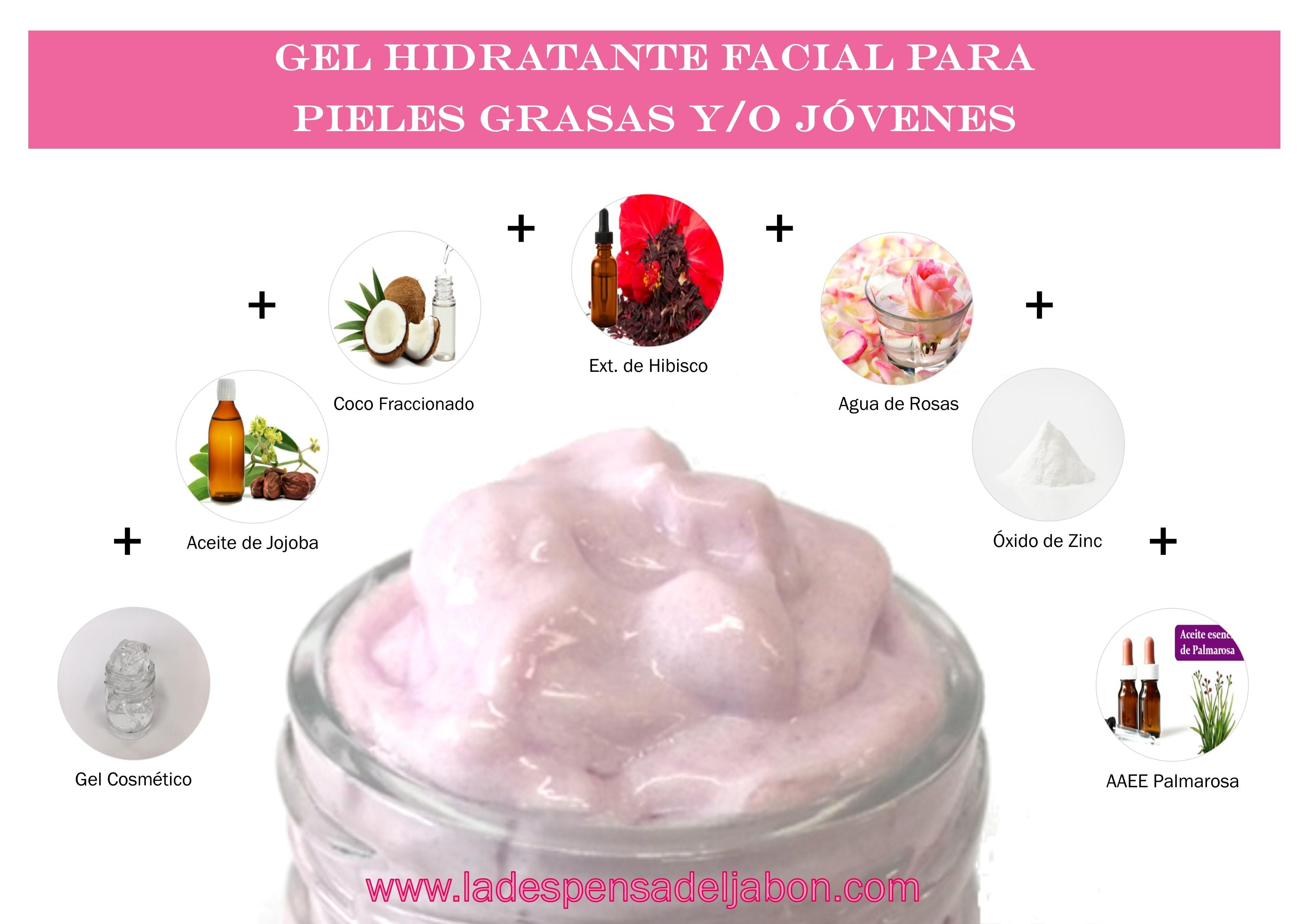 Gel hidratante facial con óxido de zinc