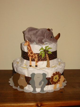 Jungle-theme diaper cake