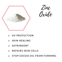 zinc oxide, uv protection, skin healing, cell repair, excess oil, oily skin, acne, acne free, vegan