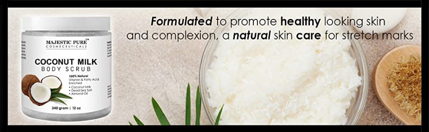 Majestic pure coconut milk scrub exfoliate cellulite natural organic cruelty free essential oil