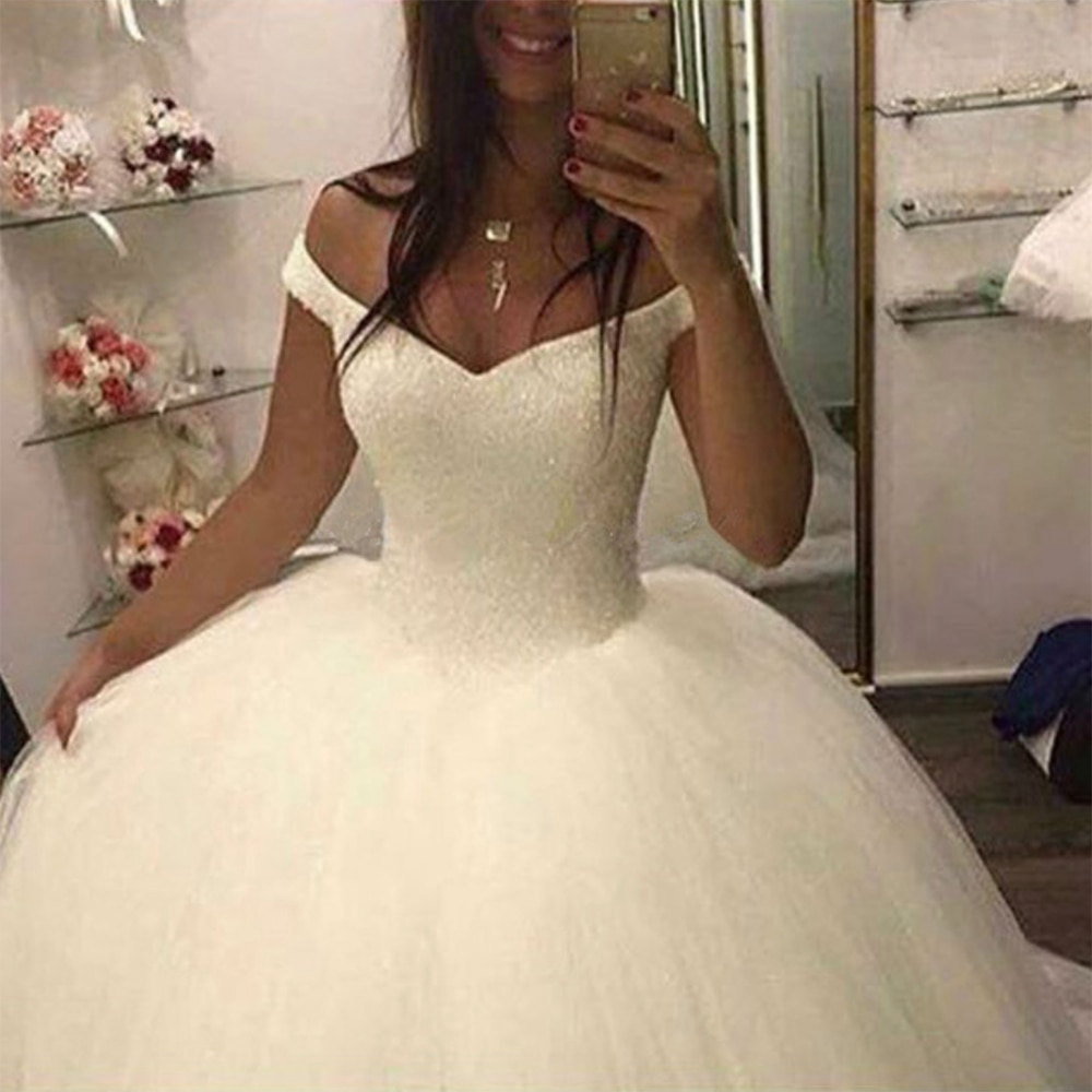 Fansmile 2019 New Bling Bling Ball Gown Wedding Dresses Off The