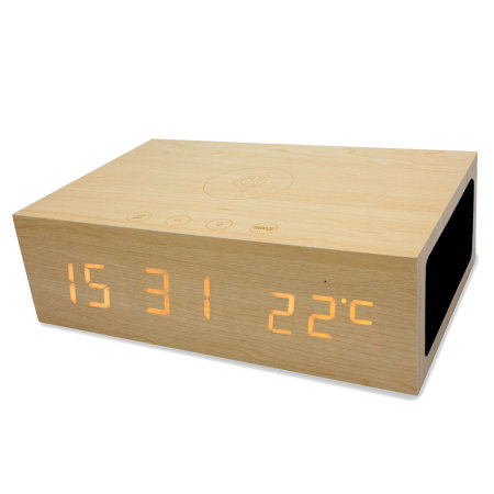 Wooden Clock with Wireless Charging and Bluetooth (1)