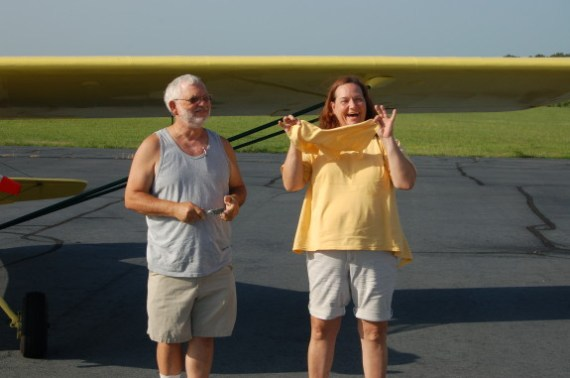 Shannon Gallagher 1 cutting my shirt tail my first solo with first instructor