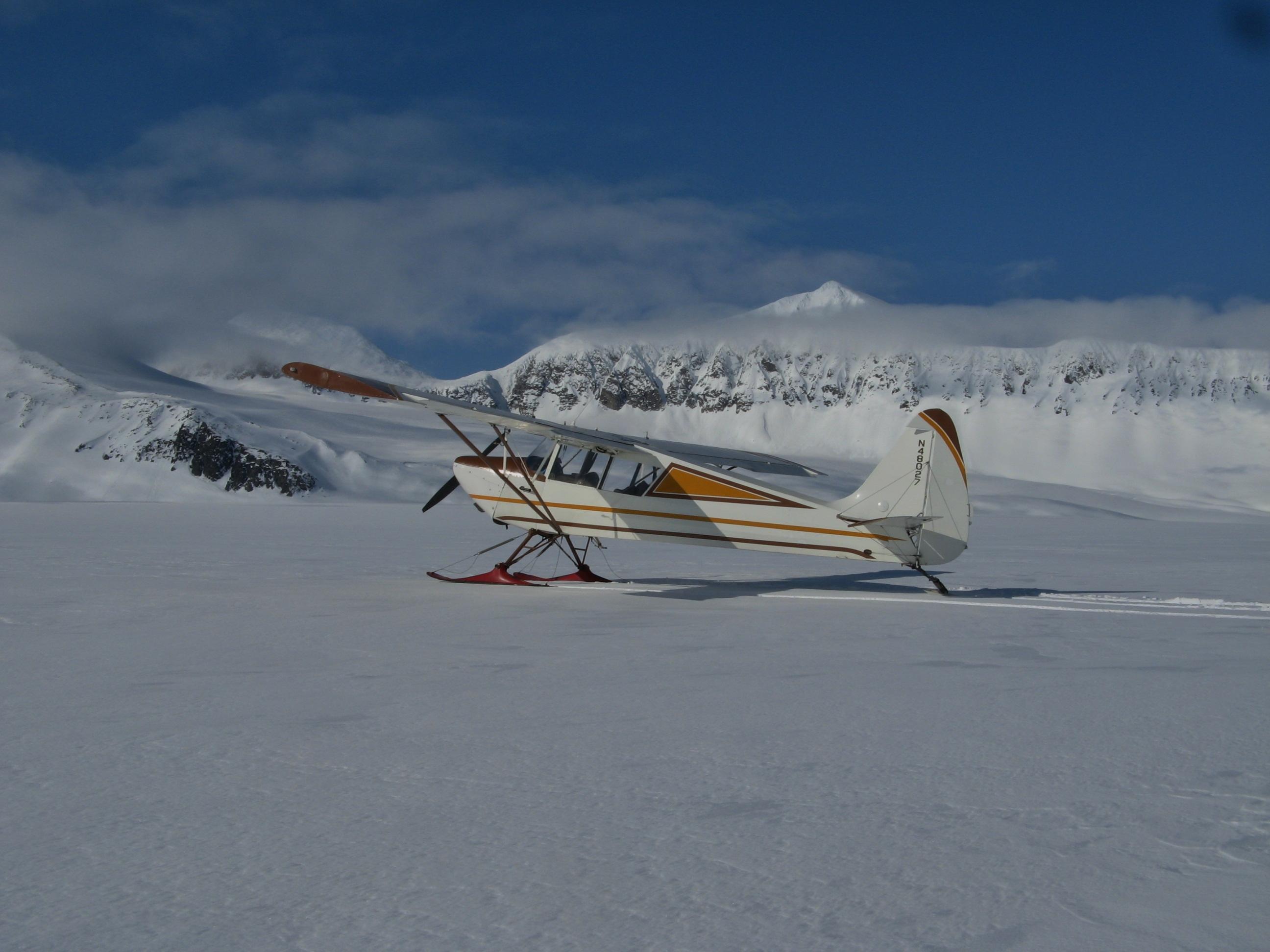 Ski Landing on Alaska's Harding Icefield