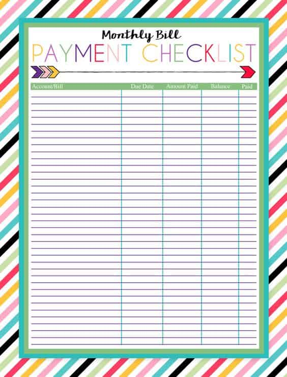 FREE Printable Monthly Bill Payment Checklist - Ladies Make Money