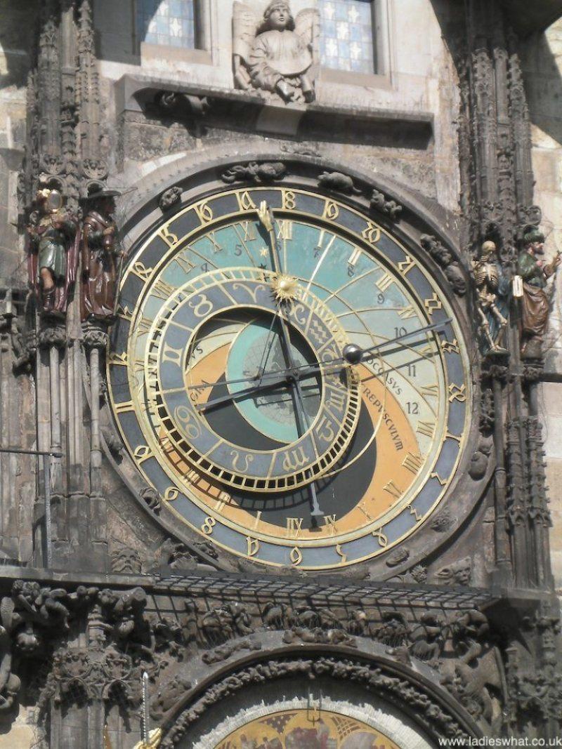 close up of Prague's astronomical clock