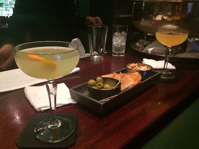 Drinks and snacks in the American Bar at The Stafford London.