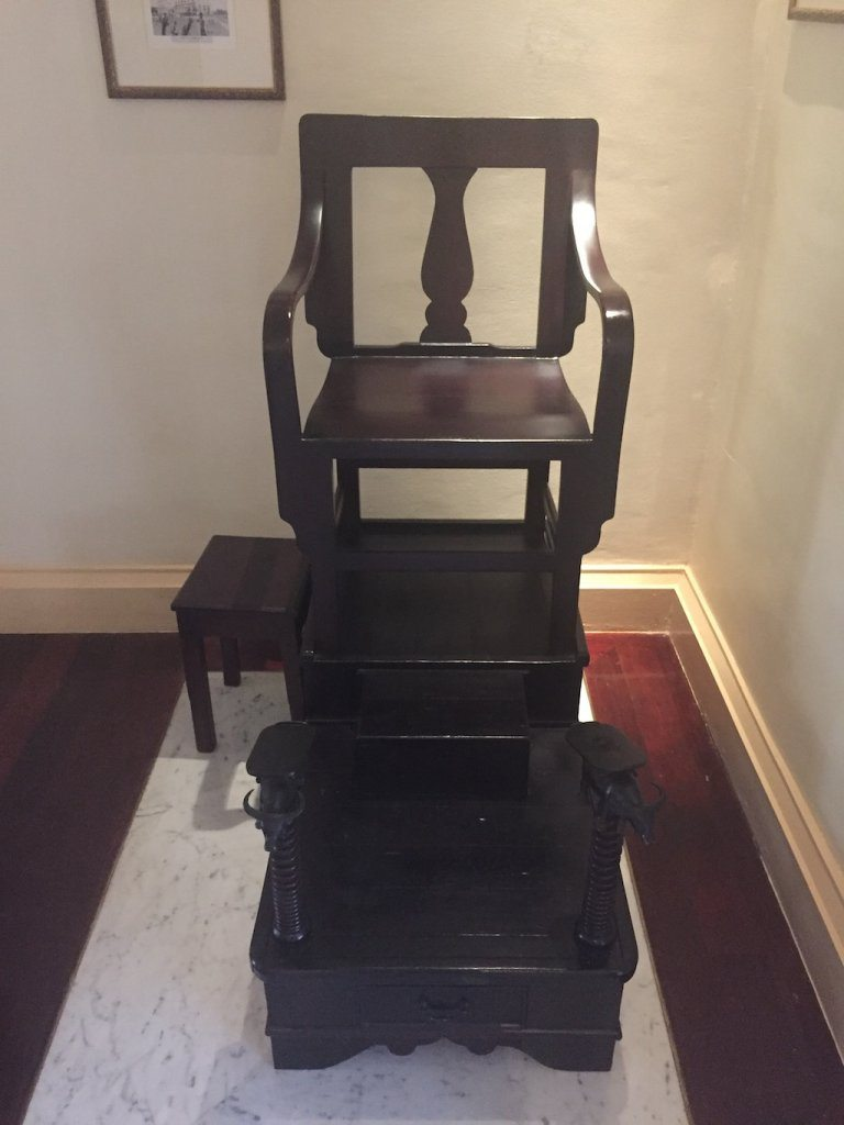 Shoe shine chair at Raffles Grand Hotel d'Angkor | Ladies What Travel