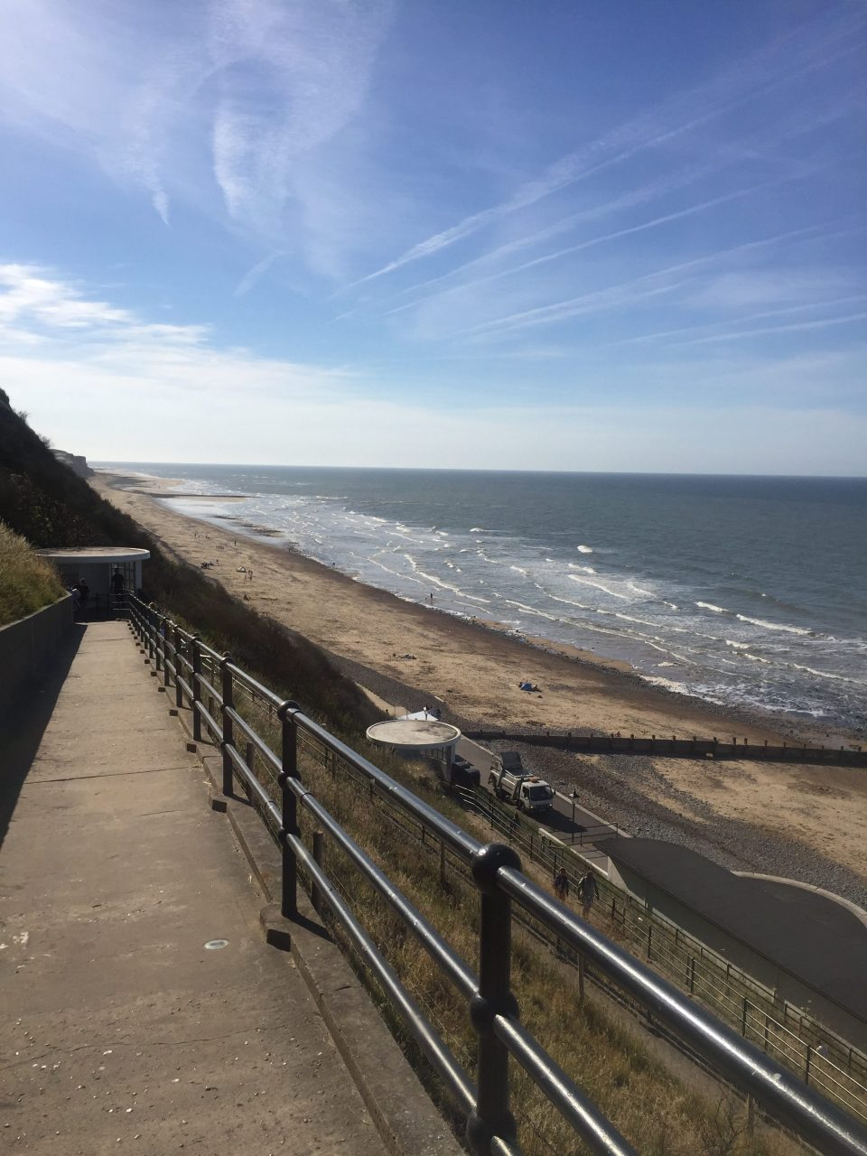 Cromer beach from the steps of the promenade.