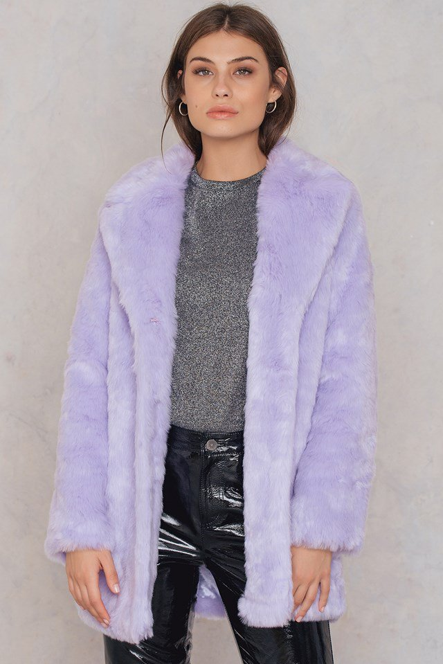 NA-KD purple faux fur