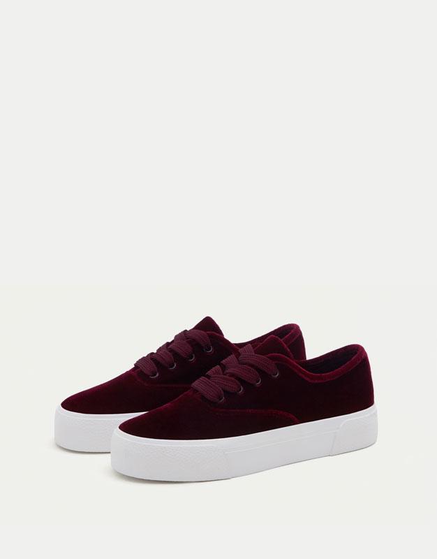 Velvet sneakers - Pull and Bear
