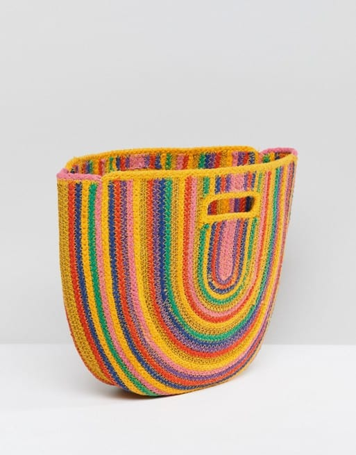 asos straw bag colourful