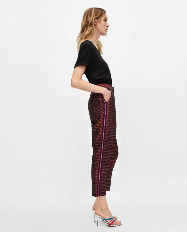 Zara Jacquard broek met stroken