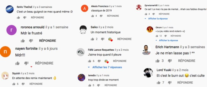 Screenshots showing many reactions from fans who are having fun with Sardoche's rage