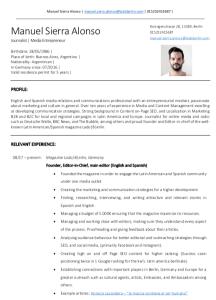 CV - Manuel Sierra Alonso - Como conseguir trabajo en Berlin - Lado|B|erlin