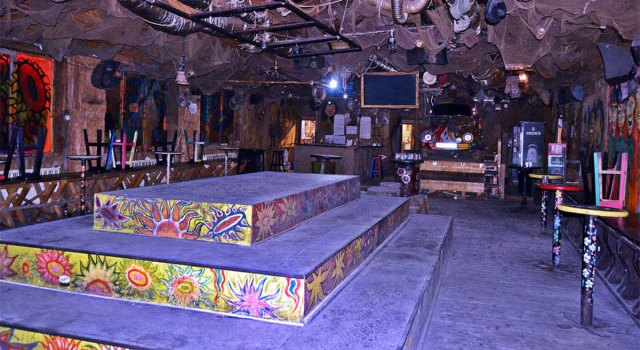 The platform in Club Janis we spent most of the night