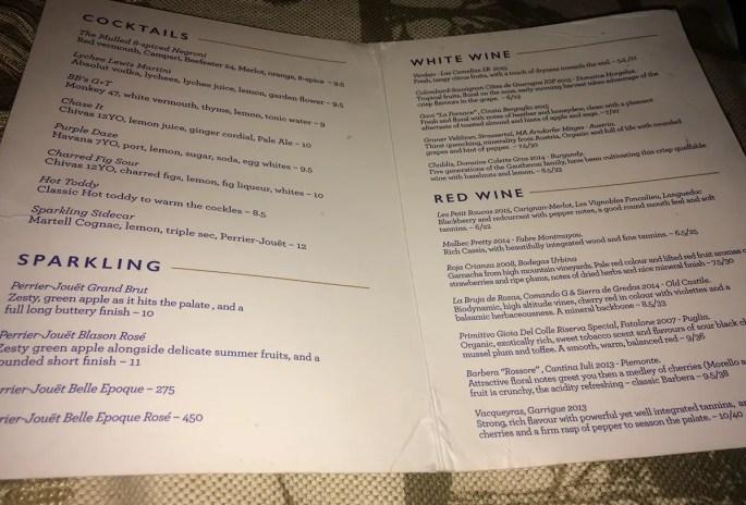 John Lewis Garden Bar menu