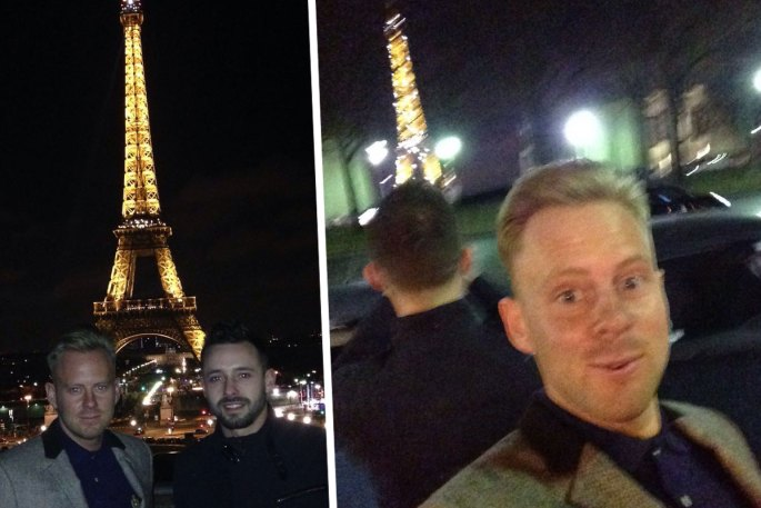 Lee Walpole and Shane Ross in Paris on Valentine's Day with Eiffel Tower at night